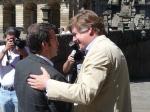 Con Alberto Nuñez Feijoo en Santiago durante la campaña de las europeas 2009